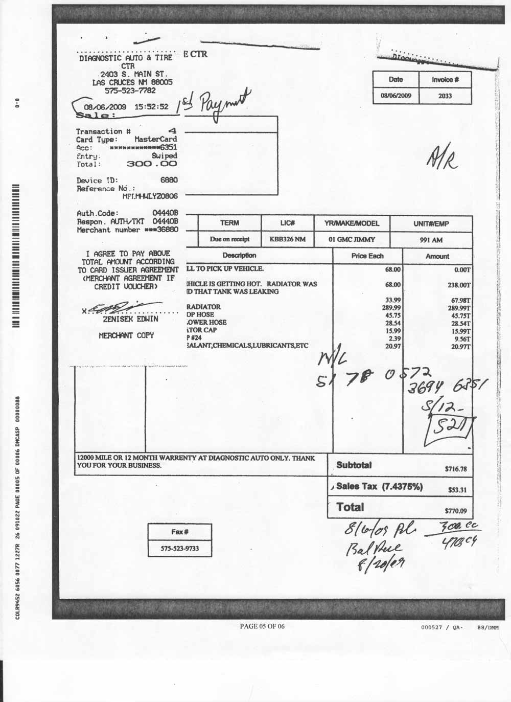 Diagnostic Auto And Tire Repair My Review Of A Mechanic And - Sample car repair invoice